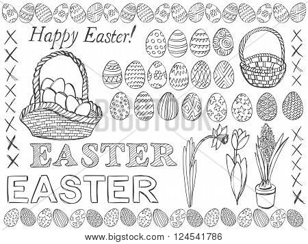 Easter symbols doodle vector set. Doodle Easter eggs baskets and spring flowers. Pencil effect collection. Set of simple doodles. Isolated on white background.