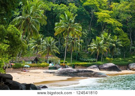 empty brazilean tropical beach with the house and lot of trees