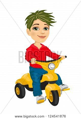 cute little boy riding a tricycle isolated over white background