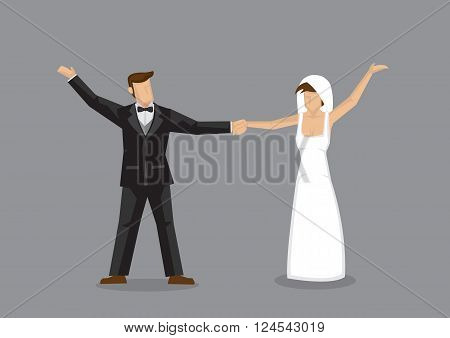Vector illustration of a bride and groom holding hands in celebration of happiness isolated on grey background.