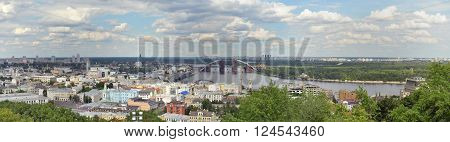 Wide panoramic view of Kiev at the day. Ukraine