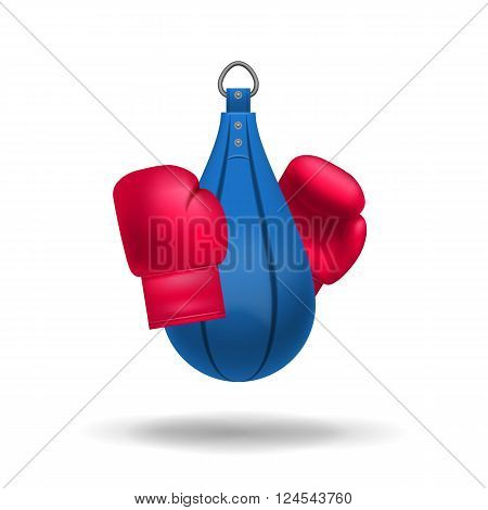 Vector Realistic Boxing Gloves And Punching Bag.