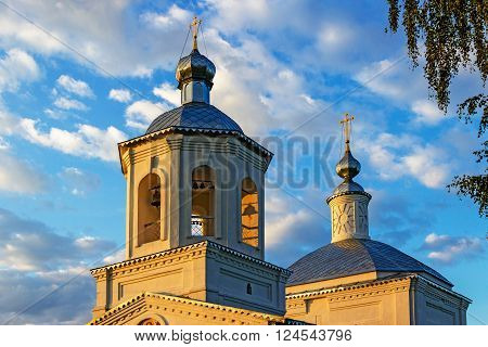 The bell tower of the Orthodox church with bells. Russia ** Note: Visible grain at 100%, best at smaller sizes