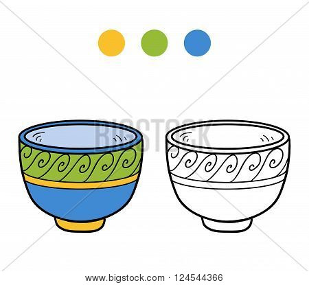 Coloring Book For Children. A Cup With Geometric Pattern