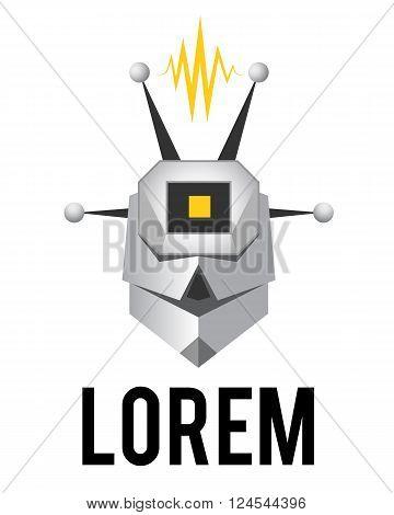 Robot head with antennas, the vector logo template.