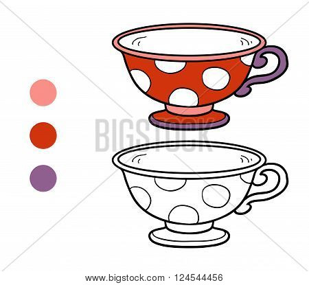 Coloring Book For Children. A Mug With Polka Dots