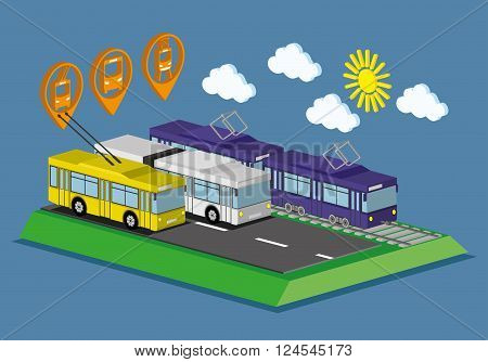 Web infographic concept public transport bus, tram and trolley