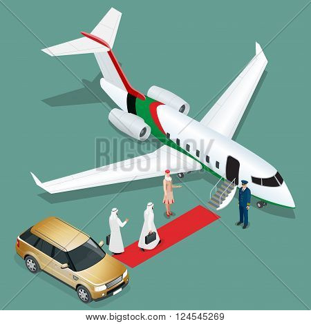 Private jet airplane. Two arab business mans walking towards private jet while pilot and stewardesses standing at airport terminal. Flat 3d vector isometric illustration