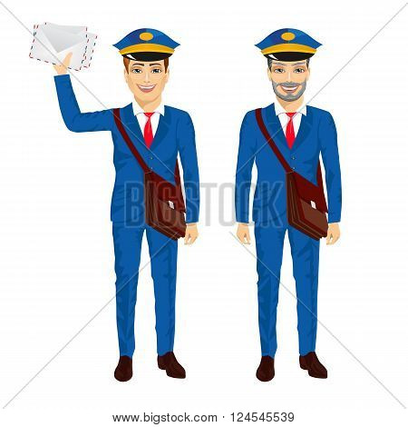 two postmen with bags posing on a white background
