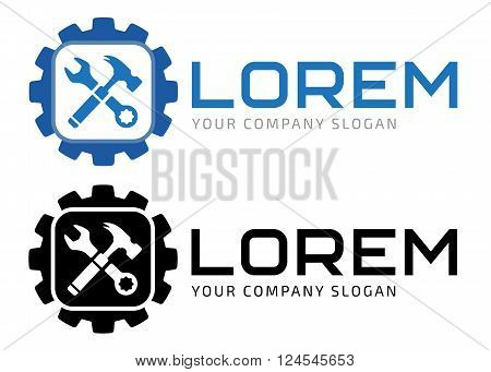 Hammer and gear the repairment process logotype, the vector logo template.