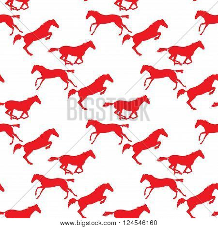 Horse racing image for background banners flyers. Vector seamless pattern with horses. Red horse seamless pattern on isolated background. Background with Equine sports theme
