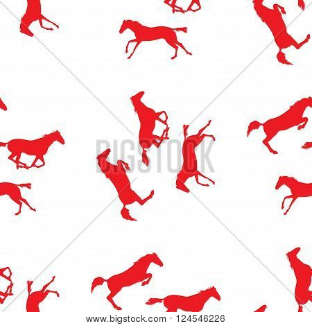 Seamless pattern with silhouette of horse. Horse racing image for background banners flyers. Vector seamless pattern with horses. Red horse seamless pattern on isolated background