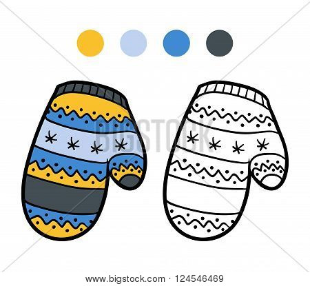 Coloring Book For Children, Knitted Mitten With Winter Pattern
