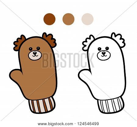 Coloring Book For Children, Knitted Mitten With Bear