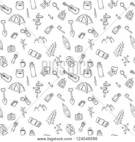 Hand Drawn Camping And Hiking Seamless Pattern. Picnic, Hiking, Travel And Camping. Doodle Camping E