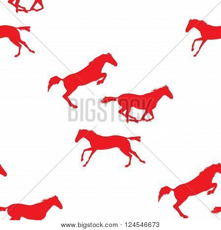 Racing Running jumping horses. Red horse seamless pattern on isolated background. Seamless pattern with silhouette of horse. Vector seamless pattern with horses