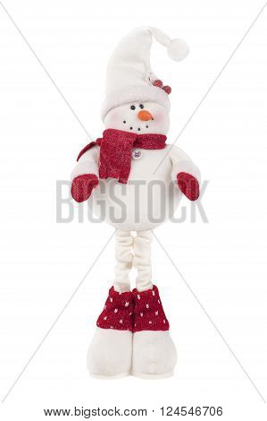 Close up Snowman isolated on white Background