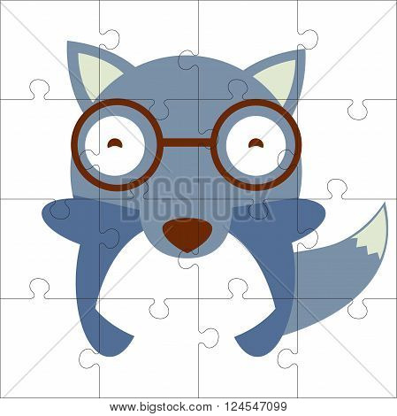 Vector puzzle game for children. Puzzle with wolf. Jigsaw game for kid. Visual rebus puzzle educational game for preschool child
