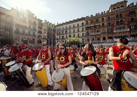 Spain Navarra Pamplona 10 July 2015 band playing drums in front of the famous cafe IRUNA for S. Firmino fiesta spanish school of samba fortalezaspanish school of samba fortaleza