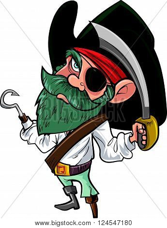 Cartoon pirate with cutlass and eye patch. Isolated on white