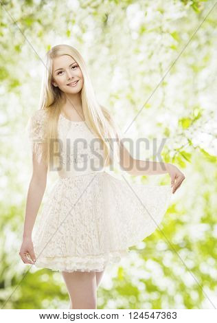 Fashion Model in White Dress Girl Posing in Embroidered Lace Clothes