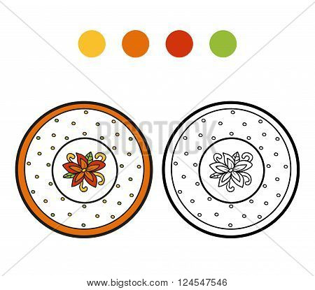Coloring Book For Children. A Plate With Flower