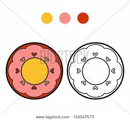 Coloring Book For Children. A Plate With Heart