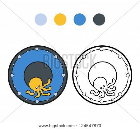 Coloring Book For Children. A Plate With Octopus