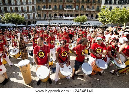 Spain Navarra Pamplona 10 July 2015 S Firmino band playing drums in front of the famous café IRUNA frequented by Hemingway Spanish school of samba fortalezaspanish school of samba fortaleza