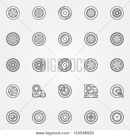 Car wheels icons - vector set of tire symbols or signs in thin line style