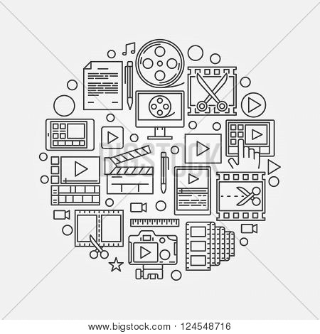 Video production illustration - round vector video editing symbol made with thin line icons
