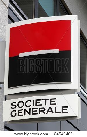 Villefranche, France - March 20, 2016: Societe Generale is a French multinational banking and financial services company headquartered in Paris