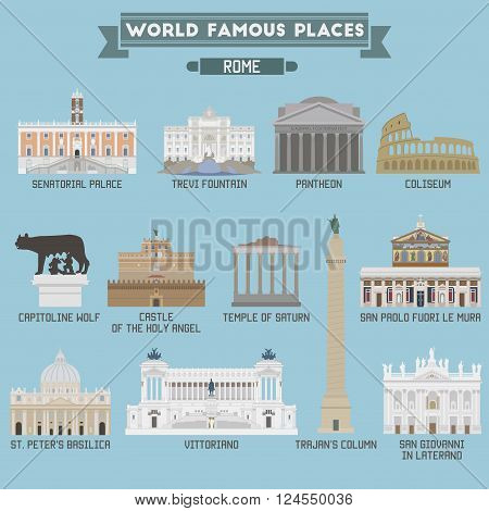 World Famous Place. Italy. Rome. Geometric Icons Of Buildings