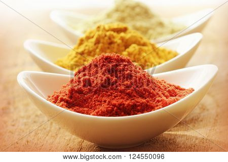 Various spices in  white bowl on wooden background