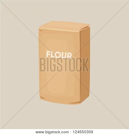 Flour packaging. Package of flour. Baking and cooking Ingredients. Healthy organic food. Flour packaging cartoon vector. Dough cooking. Organic product. Flour packaging illustration.