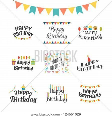 Happy Birthday Greeting Cards. Birthday Theme Labels. Typography Design Elements