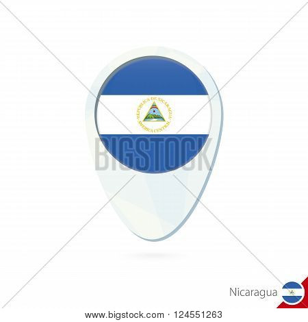 Nicaragua Flag Location Map Pin Icon On White Background.