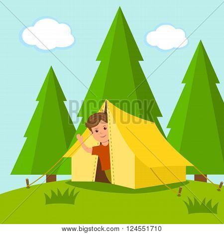 Camping. Boy traveler looks out of the tent in the middle of a forest. The concept of of summer holiday outdoors.