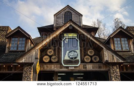 Gatlinburg, Tennessee, USA. March 25, 2016 - The Ole Smoky Distillery bills itself as the most visited distillery in America. Known as the Holler, the distillery offers tours and sells Tennessee moonshine.