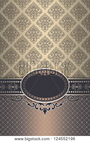 Vintage background with decorative borderframe and old-fashioned patterns. Vintage invitation card or cover-book design.