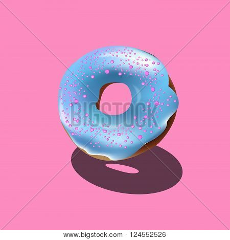 donut vector. donut icon. donut with blue glaze. pink background
