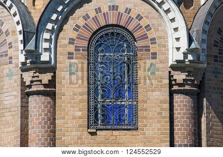 Arched window of the Church of the Savior on Spilled Blood in Saint Petersburg city in Russia. Common pattern of Russian Architecture