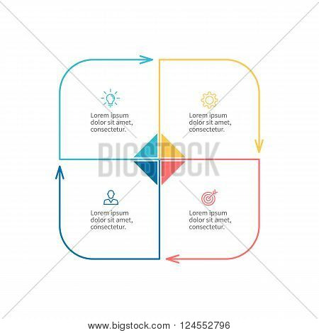 Outline infographic element with arrows. Chart, diagram with 4 steps, options. Vector design element.