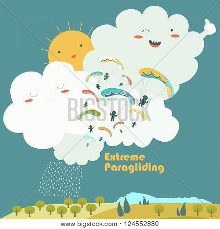 Paragliders on sky with cute clouds. Vector illustration