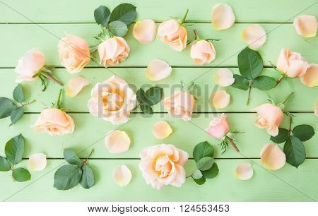 Peach colored roses on green wooden background