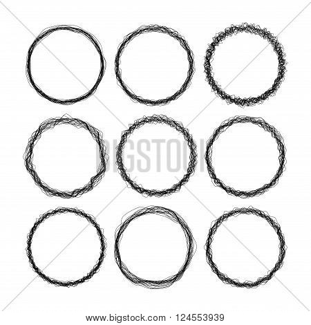 Set Of 9 Round Grunge Wire Style Black Vector Frames
