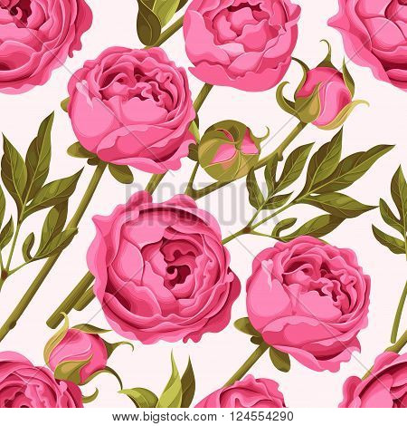 Vintage peony flowers, buds and leaves vector seamless background