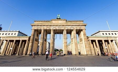 BERLIN GERMANY - MAY 22 2014: View on the Brandenburg Gate in Berlin Germany. An 18th-century neoclassical triumphal arch in Berlin one of the best-known landmarks of Germany.