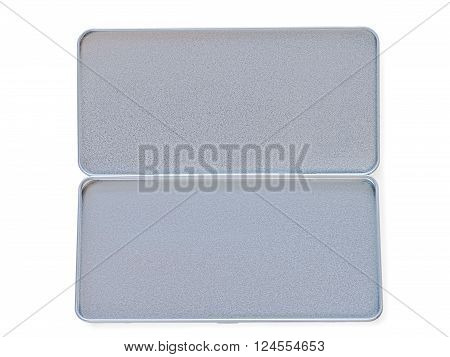 Open tin-plate textured box isolated on white with clipping path