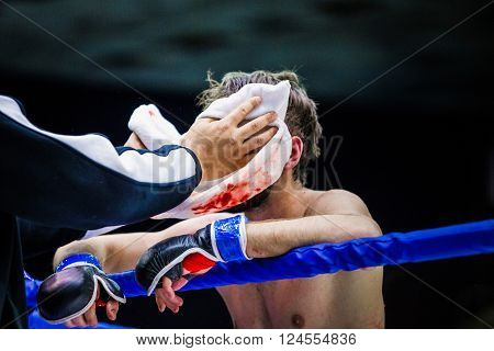 Chelyabinsk, Russia - April 2, 2016: cornerman wipes face of a fighter in between rounds blood on towel during Championship of mixed fighting single combats